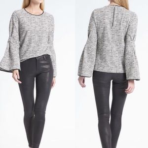 Banana Republic Boucle Pleated Bell Sleeve Top M